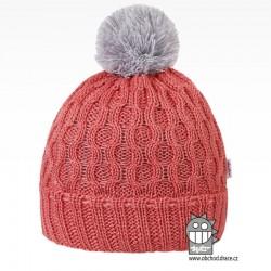 Merino pletená čepice Vanto - vzor 07 - lososová