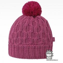 Merino pletená čepice Vanto - vzor 08 - růžová