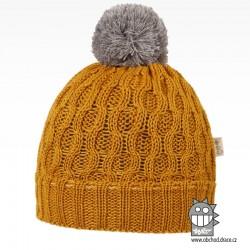 Merino pletená čepice Vanto - vzor 09 - hořčicová tmavá