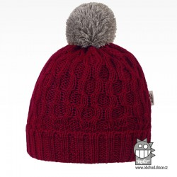 Merino pletená čepice Vanto - vzor 10 - bordó