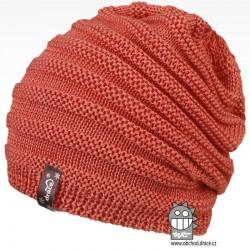 Merino pletená čepice Harmony - vzor 01 - lososová