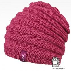 Merino pletená čepice Harmony - vzor 02 - růžová