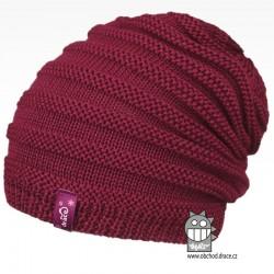 Merino pletená čepice Harmony - vzor 03 - růžová tmavá