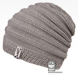 Merino pletená čepice Harmony - vzor 05 - šedá světlá