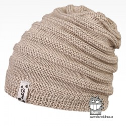 Merino pletená čepice Harmony - vzor 07 - béžová
