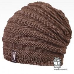 Merino pletená čepice Harmony - vzor 08 - šedo hnědá