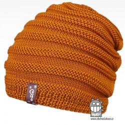 Merino pletená čepice Harmony - vzor 09 - hořčicová tmavá