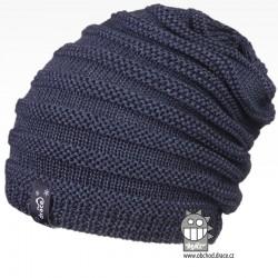 Merino pletená čepice Harmony - vzor 10 - šedo modrá