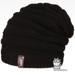 Merino pletená čepice Harmony - vzor 12 - černá
