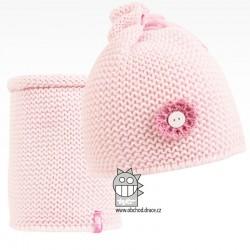 Set pletená čepice a nákrčník Zvonilka - vzor 02