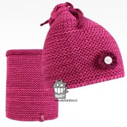 Set pletená čepice a nákrčník Zvonilka - vzor 04