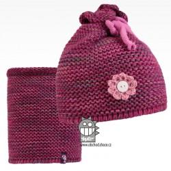 Set pletená čepice a nákrčník Zvonilka - vzor 05