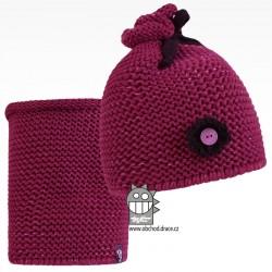 Set pletená čepice a nákrčník Zvonilka - vzor 06