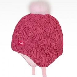 Merino pletená kojenecká laponka Vivo - vzor 02 - růžová