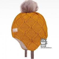 Merino pletená kojenecká laponka Vivo - vzor 05 - hořčicová
