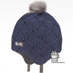 Merino pletená kojenecká laponka Vivo - vzor 07 - šedomodrá