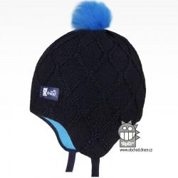 Merino pletená kojenecká laponka Vivo - vzor 08 - modrá tmavá