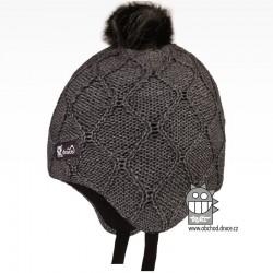 Merino pletená kojenecká laponka Vivo - vzor 09 - šedá tmavá