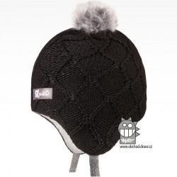 Merino pletená kojenecká laponka Vivo - vzor 10 - černá