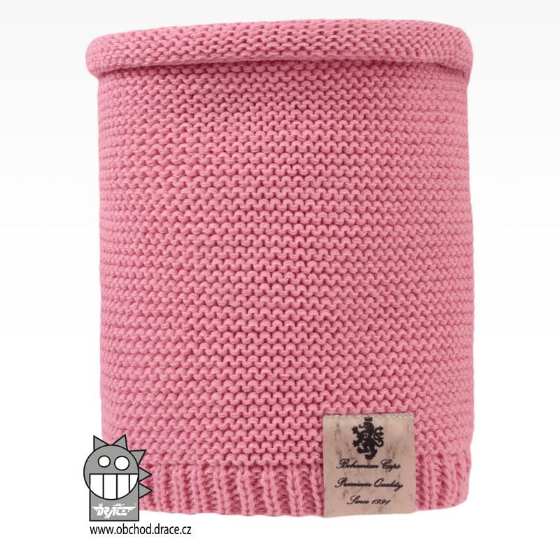 Levně Nákrčník pletený Colors - vzor 04 - růžová